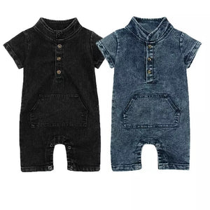 Denim look Button up collar romper - nixonscloset