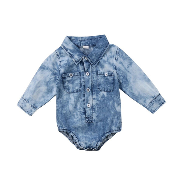 Acid Wash Denim Collar Romper - nixonscloset