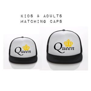 Queen Matching Kids & Adult Snapback Hat - White Background - nixonscloset