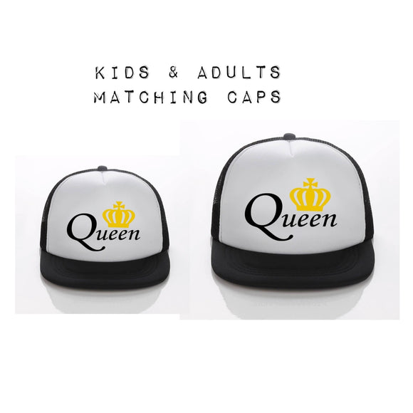 Queen Matching Kids & Adult Snapback Hat - White Background