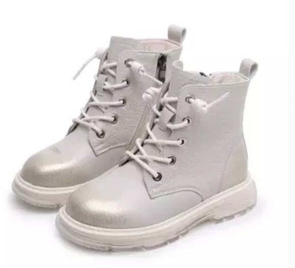 Metallic kids boots - White