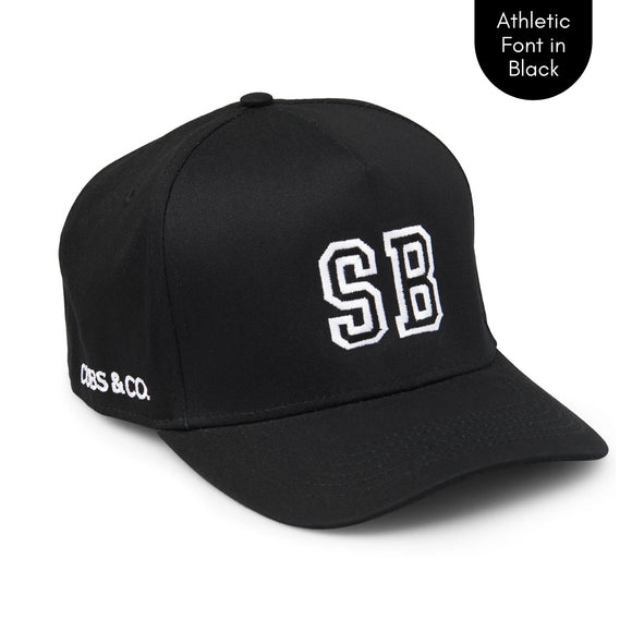 PERSONALISED BLACK HAT W/ INITIALS | Cubs & Co - Available in XS, S, M, Adult