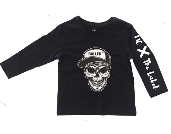 Skull baller tee - short or long sleeve - NC X The Label - nixonscloset