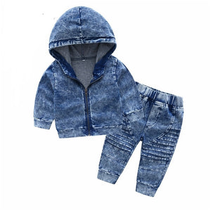 Street Denim hoodie and pant set - Acid wash blue - nixonscloset