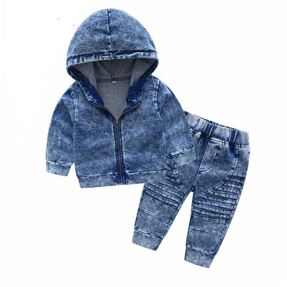Street Denim hoodie and pant set - Acid wash blue