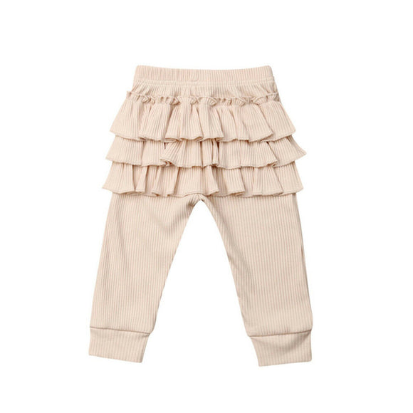 Ribbed Ruffle Botton Leggings - Nude - nixonscloset