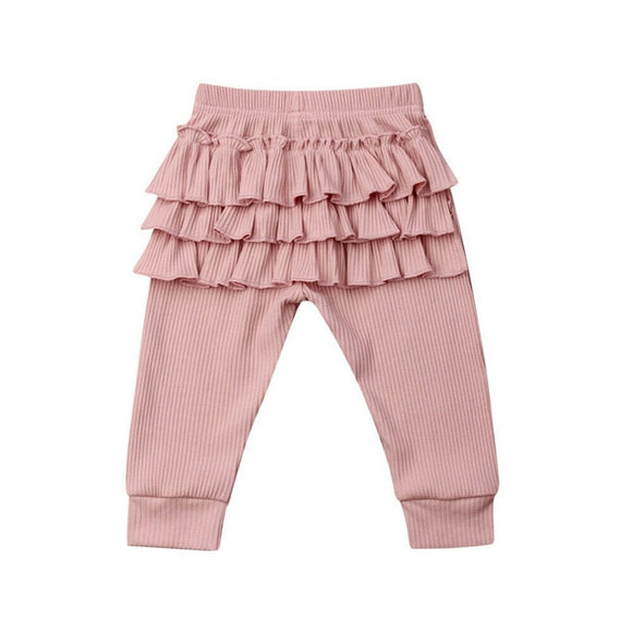 Ribbed Ruffle Bottom Leggings - Pink - nixonscloset