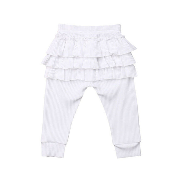 Ribbed Ruffle Bottom Leggings - White - nixonscloset