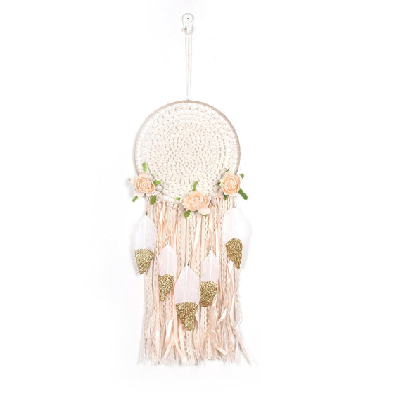 Crochet Rose & Feather Dreamcatcher - nixonscloset