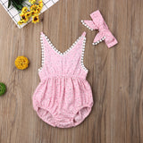Sweet Daisy Romper with Headband - Pink - nixonscloset