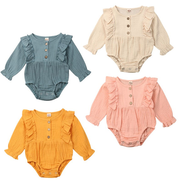 Linen Ruffle Body  Long Sleeve Romper - 4 Colours - nixonscloset