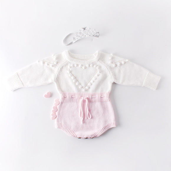 Knitted Heart Romper - Pink - nixonscloset