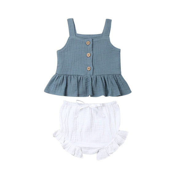Linen Top & Bloomer Ruffle Set - Blue Top White Bloomer - nixonscloset