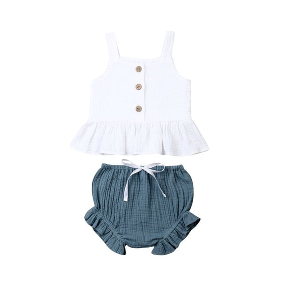 Linen Top & Bloomer Ruffle Set - White top Blue Bloomer Set - nixonscloset