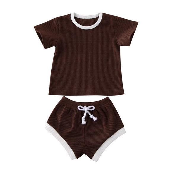Ribbed Tee & Shorts Set - Chocolate