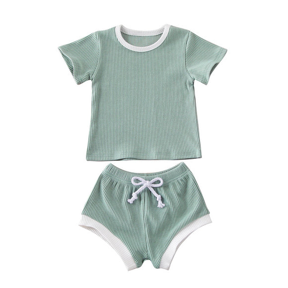 Ribbed Tee & Shorts Set - Mint