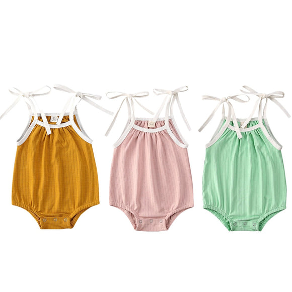Basic ribbed tie up romper - 3 Colours