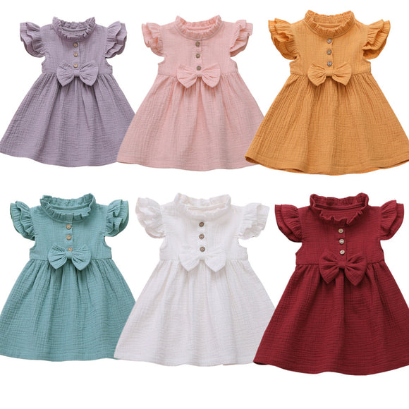 Linen Bow Dress - 6 Colours