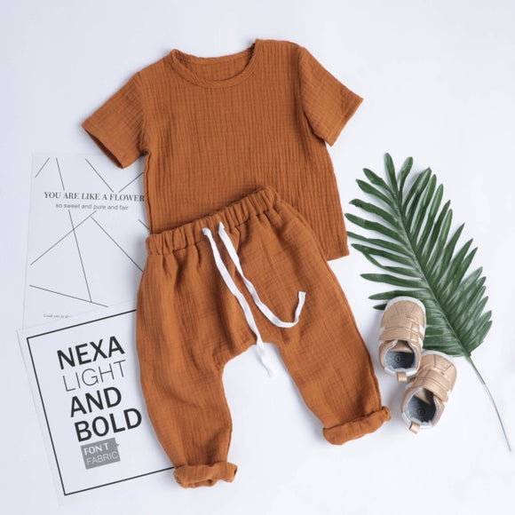 Linen Lounge Set - Rust - nixonscloset