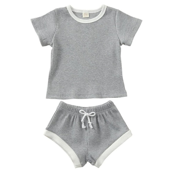 Ribbed Tee & shorts set - Grey