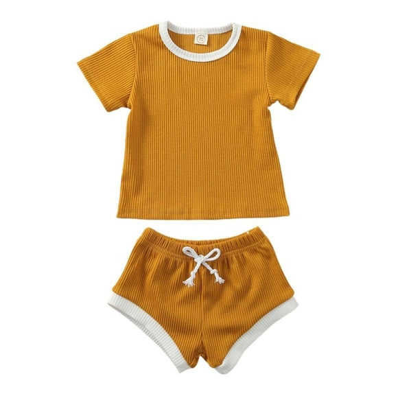 Ribbed Tee & shorts set - Mustard