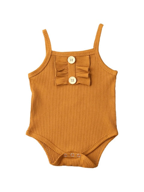 Ribbed basic button romper - Rust