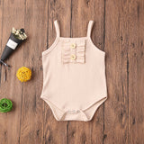 Ribbed basic button romper - Beige