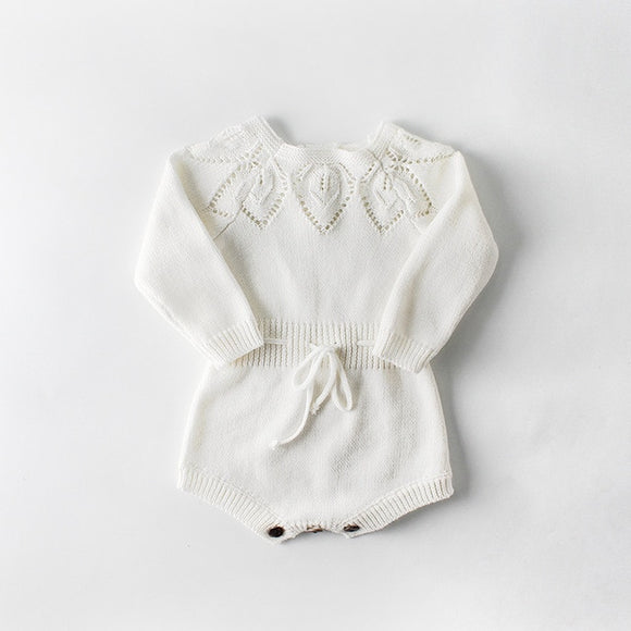 Cut out Knitted romper - White