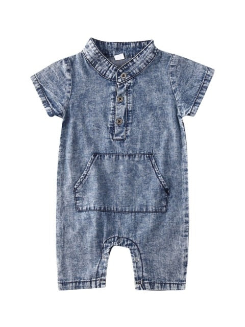 Denim look dapper romper -Blue