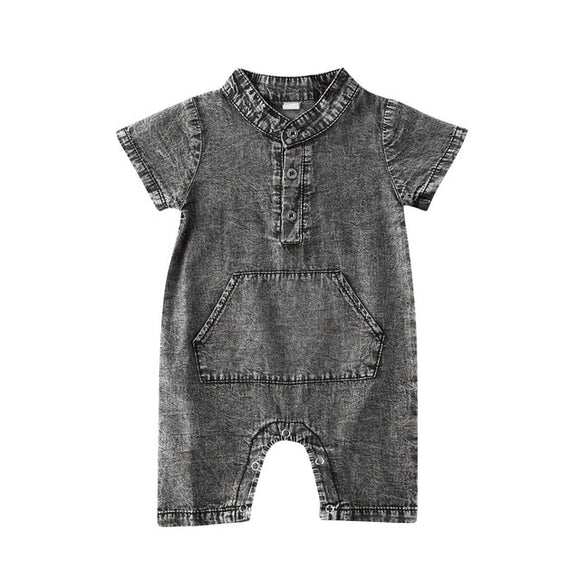 Stonewash denim look dapper romper - Black