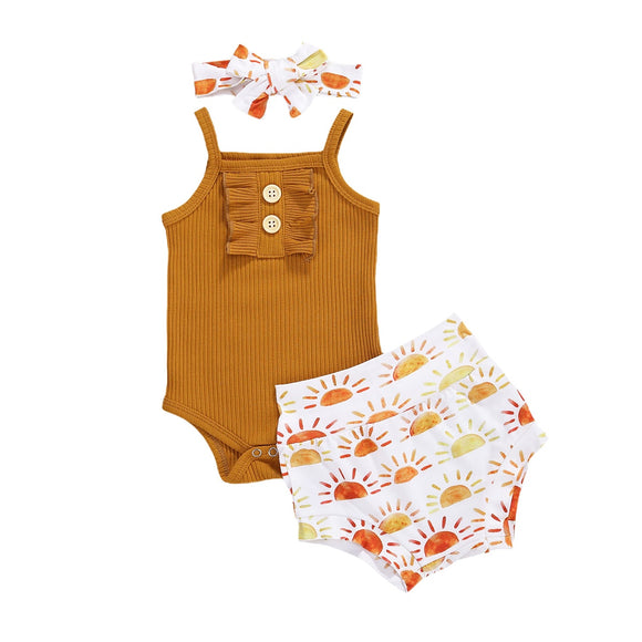 Tan ribbed sunshine set