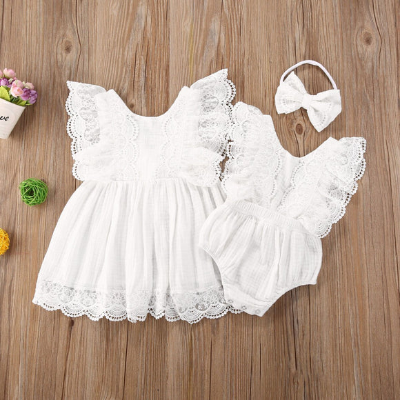 Linen and lace dress - (Matching romper available)