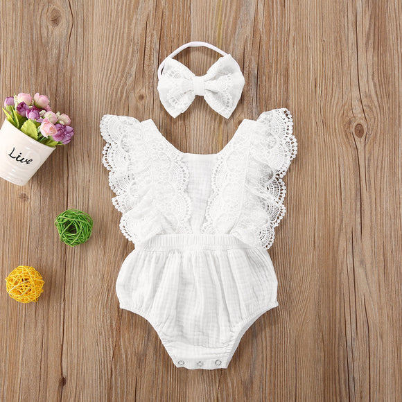 Lace & linen Romper (Matching dress available)