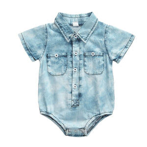 Acid wash short sleeve romper