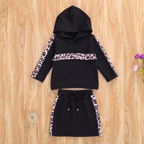 Leopard hoodie and skirt set