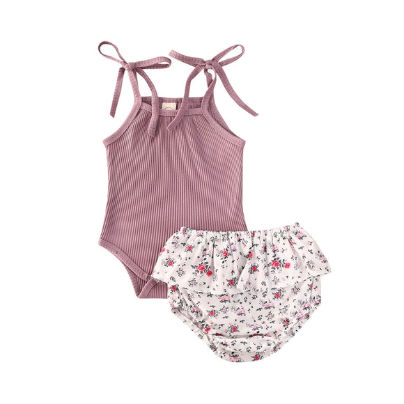 Ribbed tie romper & paisley bloomer set