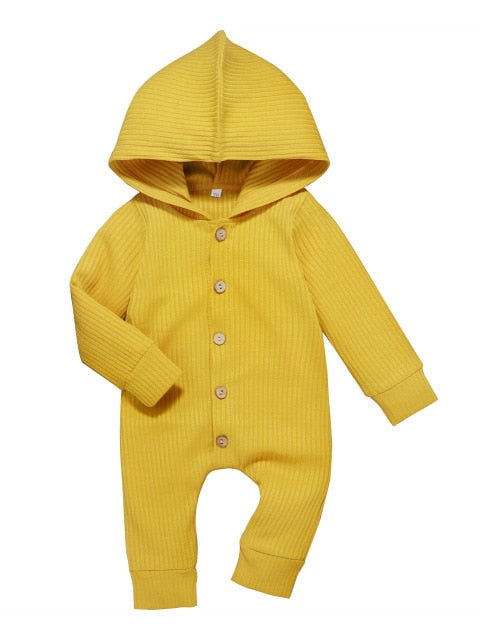 Ribbed hoddie romper - Yellow