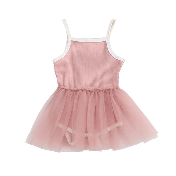 Ribbed tutu singlet dress - Pink