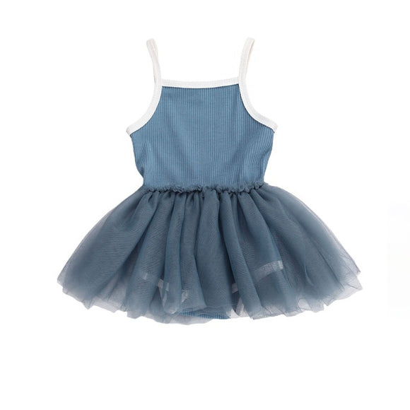 Ribbed tutu singlet dress - Blue