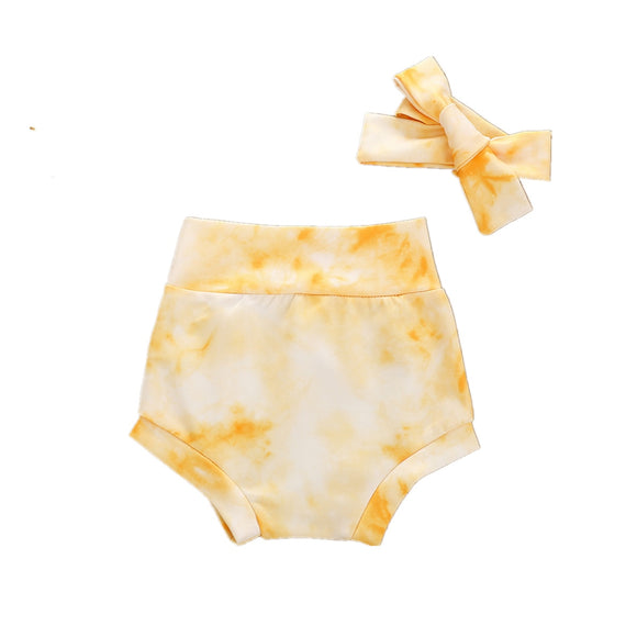 Tie dye bloomer shorts and headband set  - Yellow