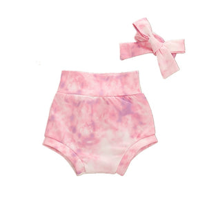 Tie dye bloomer shorts and headband set  - Pastel Pink