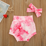 Tie dye bloomer shorts and headband set  - Pink
