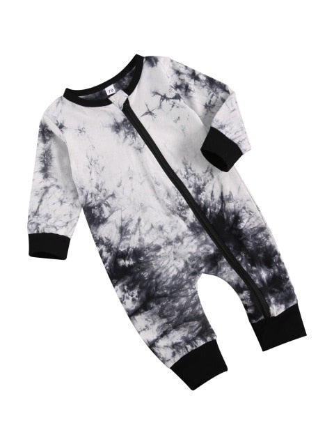 Tie Dye side zip roomper zippy