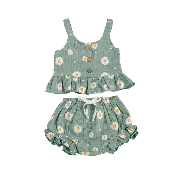 Daisy linen set - Green