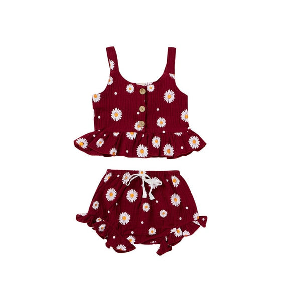 Daisy linen set - Wine