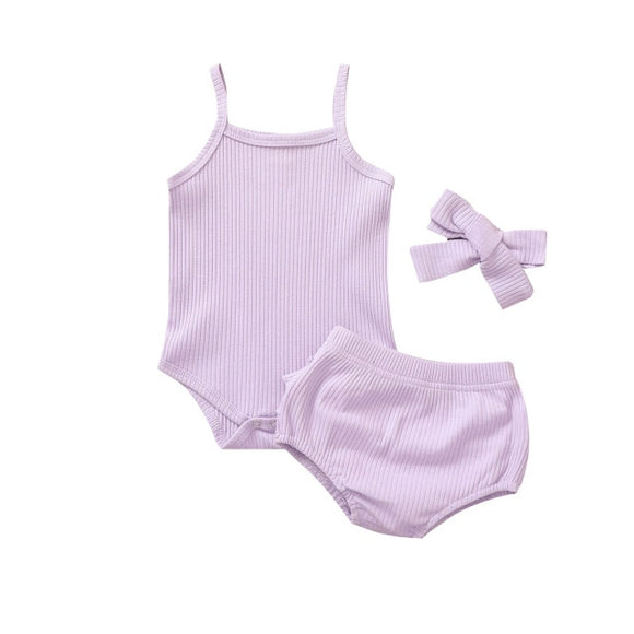Ribbed singlet 3 piece set - Light purple