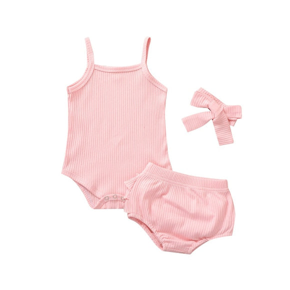 Ribbed singlet 3 piece set - Pink