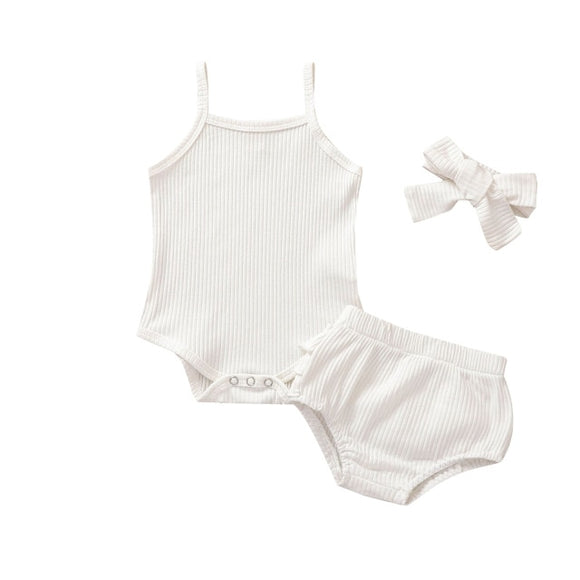 Ribbed singlet 3 piece set - White