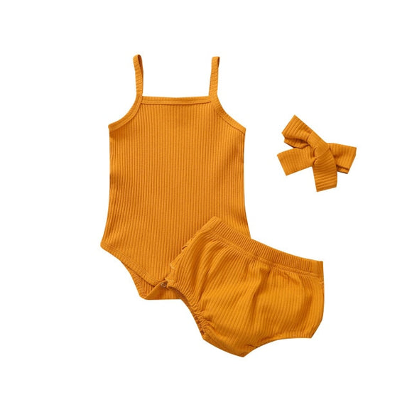 Ribbed singlet 3 piece set - Mustard