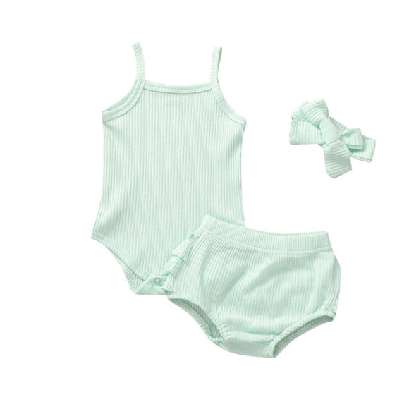 Ribbed singlet 3 piece set - Mint
